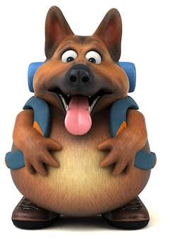 楽しいバックパッカーのジャーマンシェパード犬