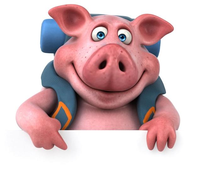 Веселая анимация со свиньей