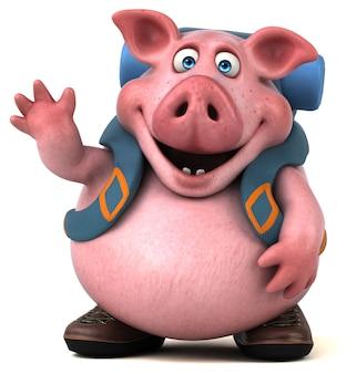 Fun backpacker pig cartoon character