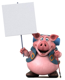Fun backpacker pig cartoon character
