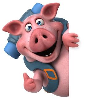 재미있는 배낭 돼지 만화 캐릭터