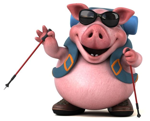 Забавная свинья-туристка