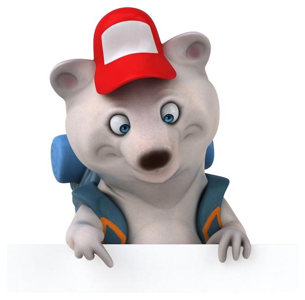 Забавный медведь рюкзаком мультипликационный персонаж