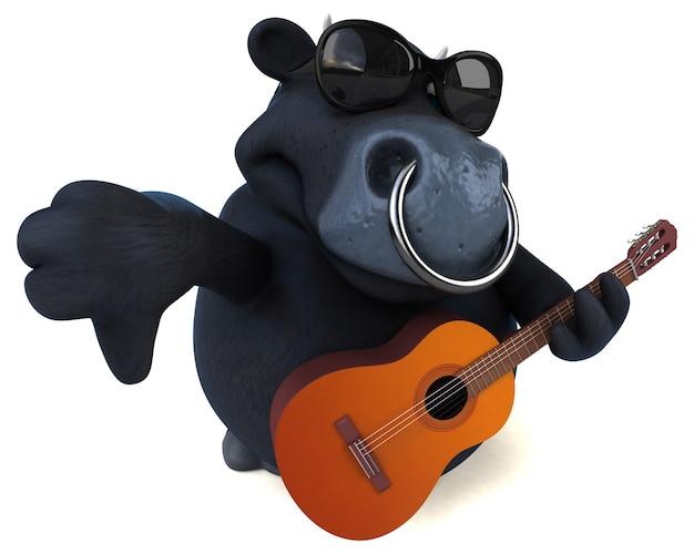楽しい黒い雄牛 - 3d キャラクター