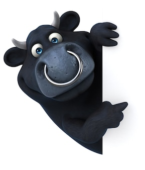Забавный черный бык - 3d иллюстрации