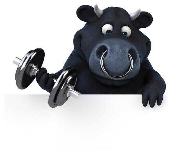 楽しい黒い雄牛-3dイラスト