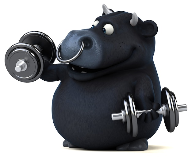 Fun black bull - 3d illustration