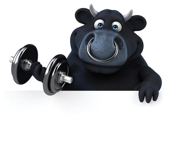 Забавный черный бык иллюстрация