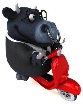 Fun black bull illustration