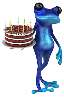 재미있는 파란색 개구리 - 3d 일러스트레이션