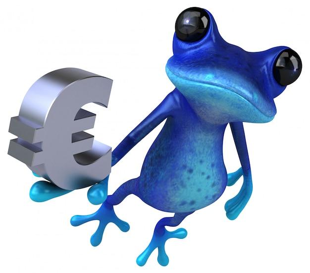 Забавная голубая лягушка 3d иллюстрация