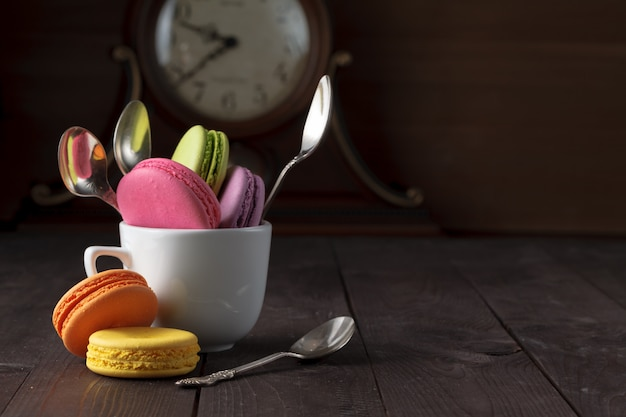 Fun breakfast with colorful macarons