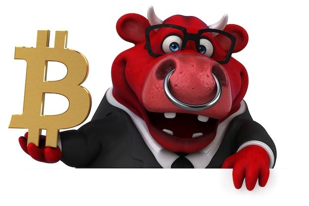 Забавная иллюстрация быка