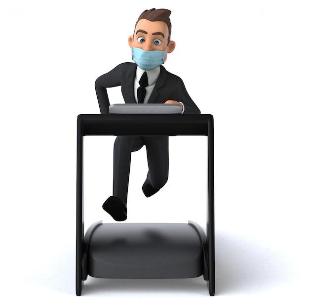マスクを持った楽しいビジネスマン