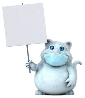 Забавный мультяшный кот с маской