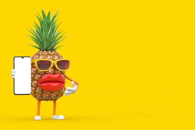 楽しい漫画のファッションヒップスターカットパイナップルの人のキャラクターのマスコットと黄色の背景にあなたのデザインのための空白の画面とモダンな携帯電話。 3dレンダリング