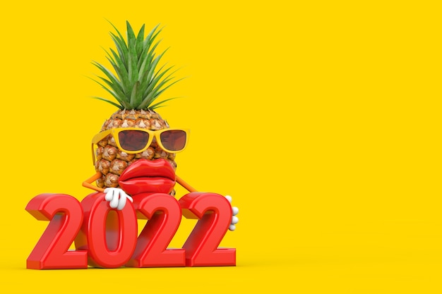 黄色の背景に2022年の新年のサインと楽しい漫画のファッションヒップスターカットパイナップルの人のキャラクターのマスコット。 3dレンダリング