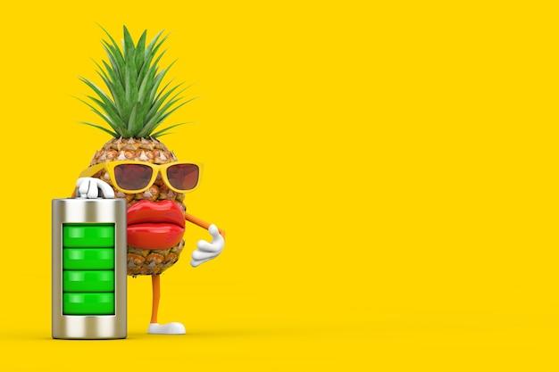 黄色の背景に抽象的な充電バッテリーで楽しい漫画のファッションヒップスターカットパイナップル人キャラクターマスコット。 3dレンダリング