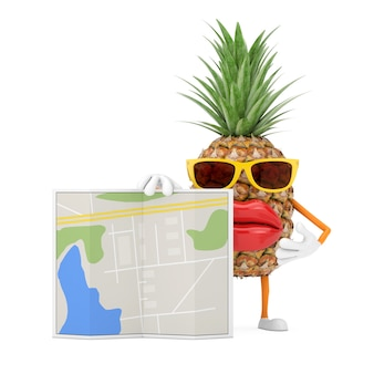 Битник моды забавного мультфильма отрезал талисман характера человека ананаса с абстрактной картой плана города на белой предпосылке. 3d рендеринг