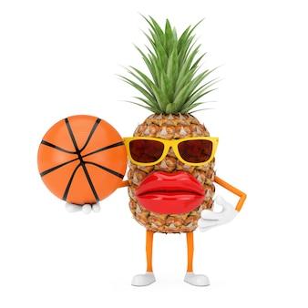 楽しい漫画のファッションヒップスターは、白い背景の上のバスケットボールボールとパイナップルの人のキャラクターのマスコットをカットしました。 3dレンダリング
