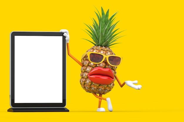 재미있는 만화 패션 소식통은 노란색 배경에 디자인을 위한 템플릿으로 빈 무역 박람회 lcd 화면 스탠드가 있는 파인애플 사람 캐릭터 마스코트를 잘라냅니다. 3d 렌더링
