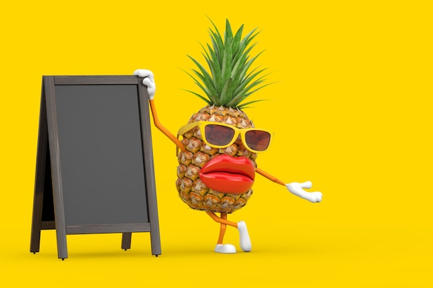 Fun cartoon fashion hipster cut pineapple person character mascot with blank wooden menu blackboards outdoor display on a yellow background. 3d rendering