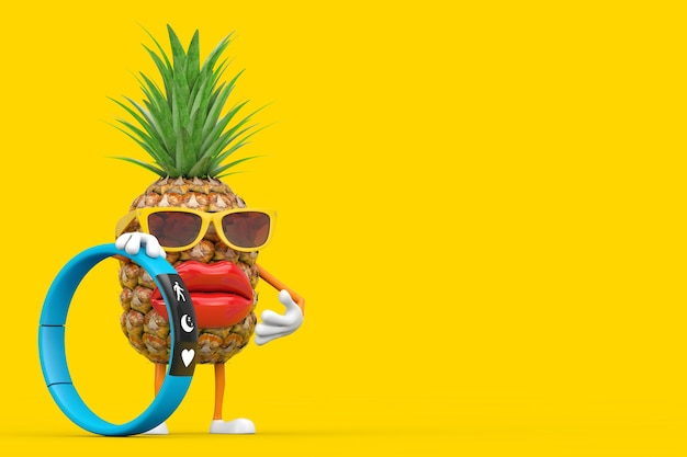 Fun cartoon fashion hipster cut pineapple person character mascot with blue fitness tracker on a yellow background. 3d rendering