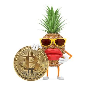 楽しい漫画ファッションヒップスターカットパイナップル人キャラクターマスコット、白い背景にデジタルと暗号通貨のゴールデンビットコインコイン。 3dレンダリング