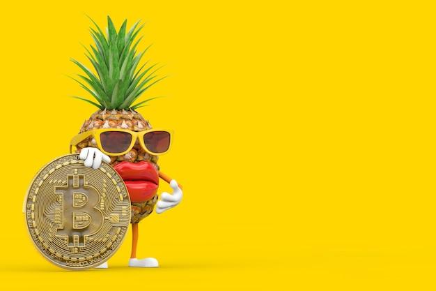 黄色の背景にデジタルと暗号通貨のゴールデンビットコインコインで楽しい漫画ファッションヒップスターカットパイナップル人キャラクターマスコット。 3dレンダリング