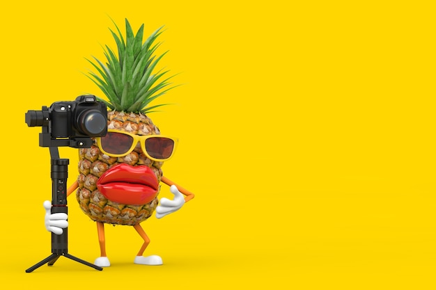 Fun cartoon fashion hipster cut pineapple person character mascot with dslr or video camera gimbal stabilization tripod system on a yellow background. 3d rendering