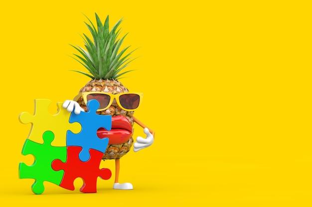 黄色の背景にカラフルなジグソーパズルの4つのピースと楽しい漫画のファッションヒップスターカットパイナップルの人のキャラクターのマスコット。 3dレンダリング