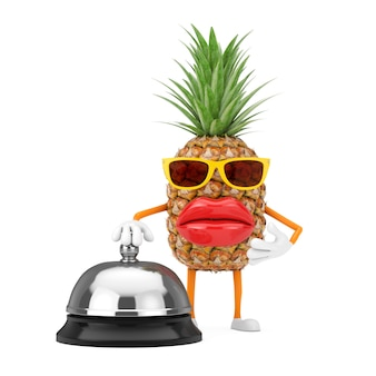 Битник моды забавного мультфильма отрезал талисман характера человека ананаса с звонком колокола гостиничного обслуживания на белой предпосылке. 3d рендеринг