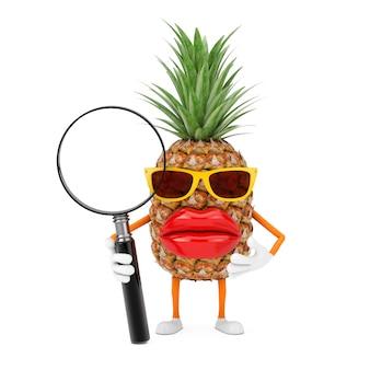 楽しい漫画のファッションヒップスターカットパイナップルの人のキャラクターのマスコット、白い背景に虫眼鏡。 3dレンダリング