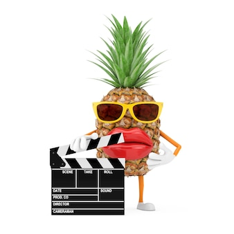 Fun cartoon fashion hipster cut pineapple person character mascot with movie clapper board on a white background. 3d rendering