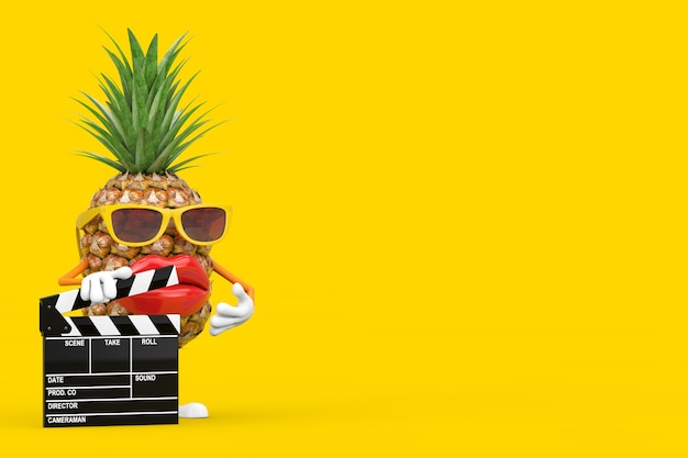 Fun cartoon fashion hipster cut pineapple person character mascot with movie clapper board on a yellow background. 3d rendering
