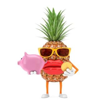 Забавный мультяшный модный хипстерский талисман персонажа ананаса с копилкой и золотой долларовой монеткой на белом фоне. 3d рендеринг