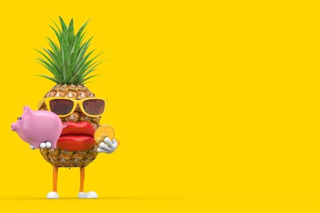 Забавный мультфильм моды hipster cut талисман персонажа ананаса с копилкой и золотой долларовой монетой на желтом фоне. 3d рендеринг