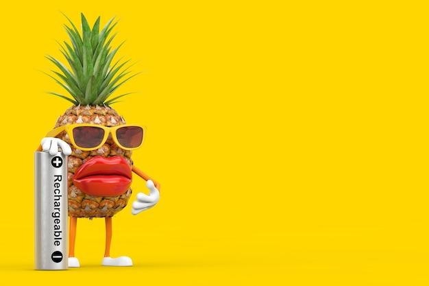 黄色の背景に充電式バッテリーで楽しい漫画のファッションヒップスターカットパイナップル人キャラクターマスコット。 3dレンダリング