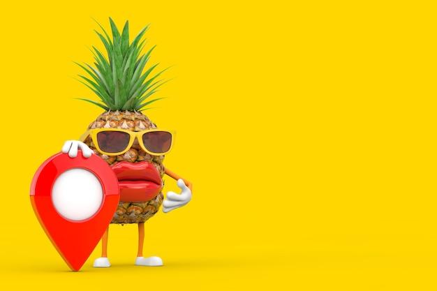 Забавный мультяшный модный хипстерский талисман характера человека с красной картой на желтом фоне. 3d рендеринг