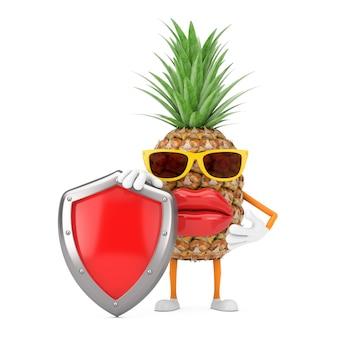 Битник моды забавного мультфильма отрезал талисман характера человека ананаса с красным щитом защиты металла на белой предпосылке. 3d рендеринг