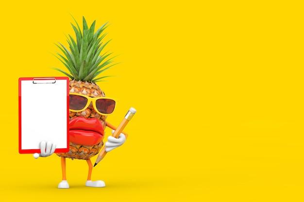 黄色の背景に赤いプラスチッククリップボード、紙、鉛筆で楽しい漫画ファッションヒップスターカットパイナップル人キャラクターマスコット。 3dレンダリング