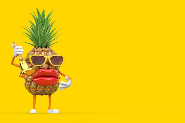 Fun cartoon fashion hipster cut pineapple person character mascot with vintage golden school bell on a yellow background. 3d rendering
