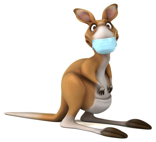 Забавный мультяшный кенгуру с маской