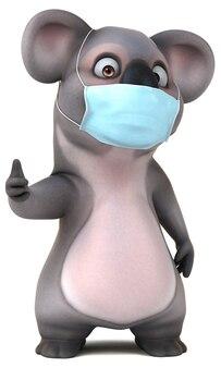Забавная мультяшная коала с маской