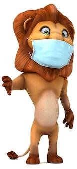 마스크와 함께 재미있는 만화 사자 프리미엄 사진
