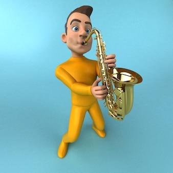 楽しい漫画の黄色いキャラクター