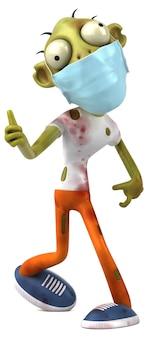 Забавный мультяшный зомби с маской