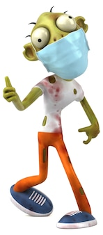 Fun cartoon zombie with a mask