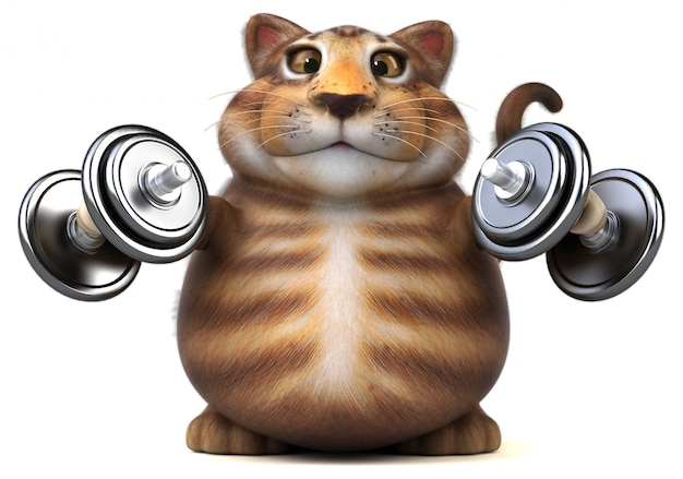 楽しい猫の3 dイラストレーション