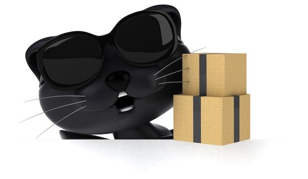 Забавная иллюстрация кошки